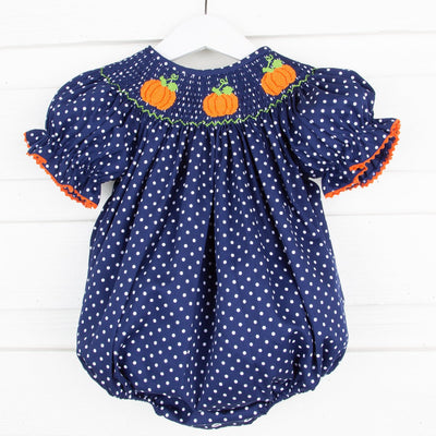 Pumpkin Smocked Bubble Navy Dot