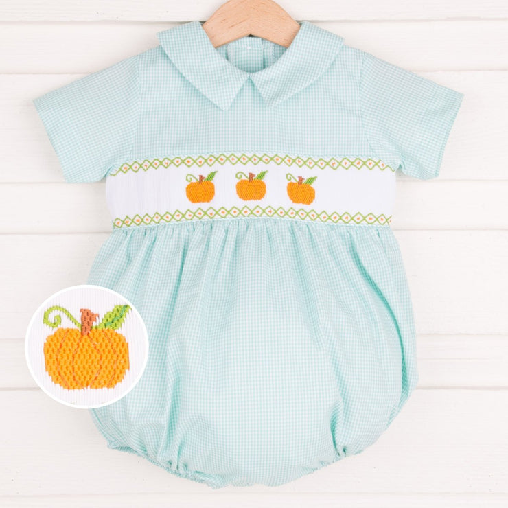 Pumpkin Smocked Collared Boy Bubble Turquoise Gingham