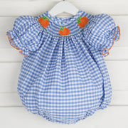 Pumpkin Smocked Light Blue Check Bubble