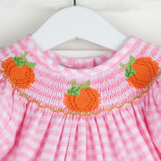 Pumpkin Smocked Light Pink Gingham Bubble
