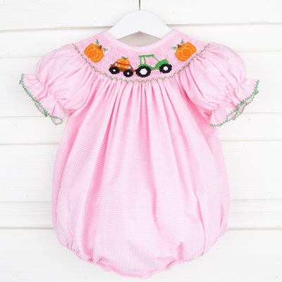 Pumpkin Tractor Smocked Bubble Light Pink Gingham