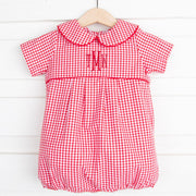 Red Gingham Collared Boy Bubble