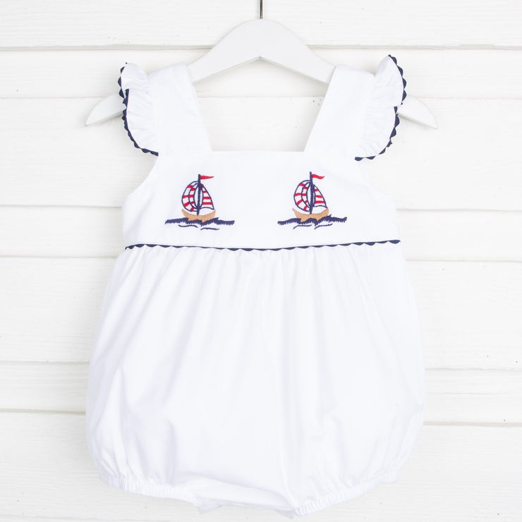 Sailboat Embroidered Girl Bubble Navy and White