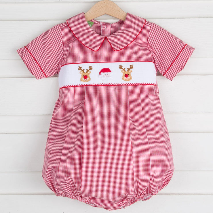 Santa & Reindeer Smocked Collared Boy Bubble Red Gingham