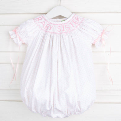 Smocked Baby Sister with Bows Bubble Pink Polka Dot