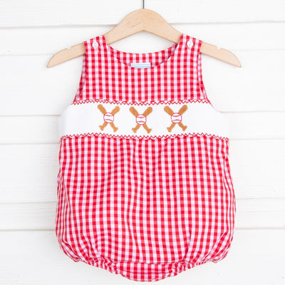 Smocked Baseball Boy Bubble Red Check