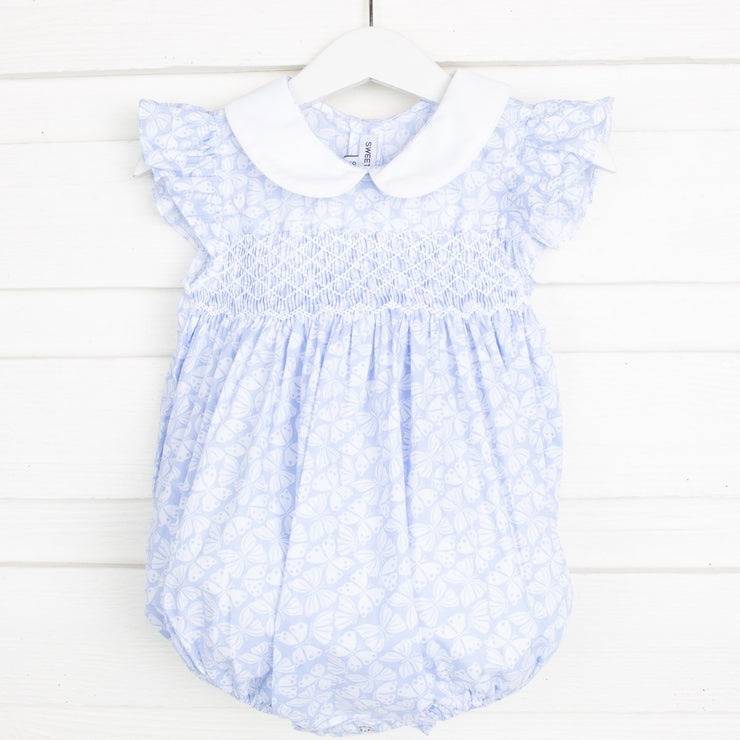 Smocked Butterfly Bubble Light Blue