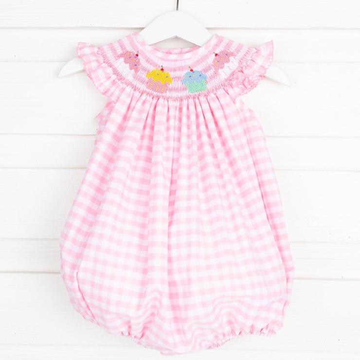 Smocked Cupcake Bubble Pink Check
