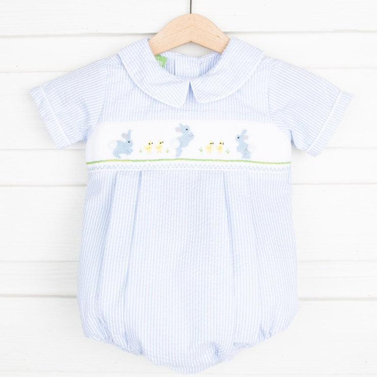 Smocked Egg Hunt Boy Bubble Light Blue Seersucker Stripe