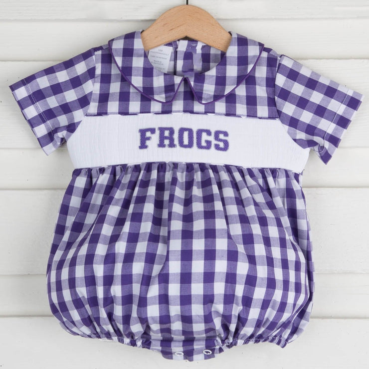 Smocked Frogs Boy Bubble Purple Check