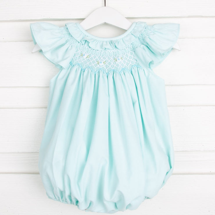 Smocked Mint Bubble Ruffle Detail