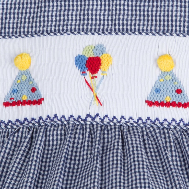 Smocked Party Hat Boy Bubble Navy Gingham