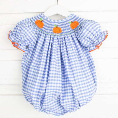 Smocked Pumpkin Bubble Light Blue Check