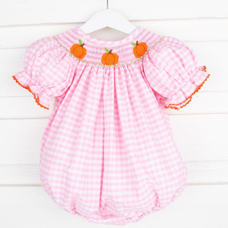 Smocked Pumpkin Bubble Pink Check