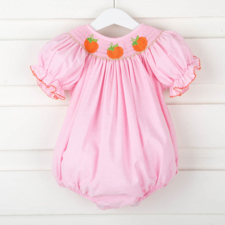 Smocked Pumpkin Bubble Pink Micro Check
