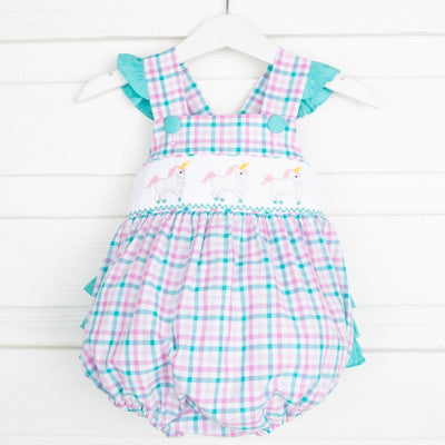Smocked Unicorn Ruffle Bubble Pink and Teal Plaid
