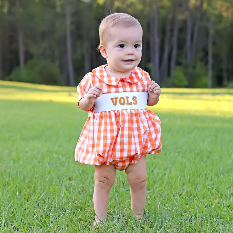 Smocked Vols Boy Bubble Orange Check