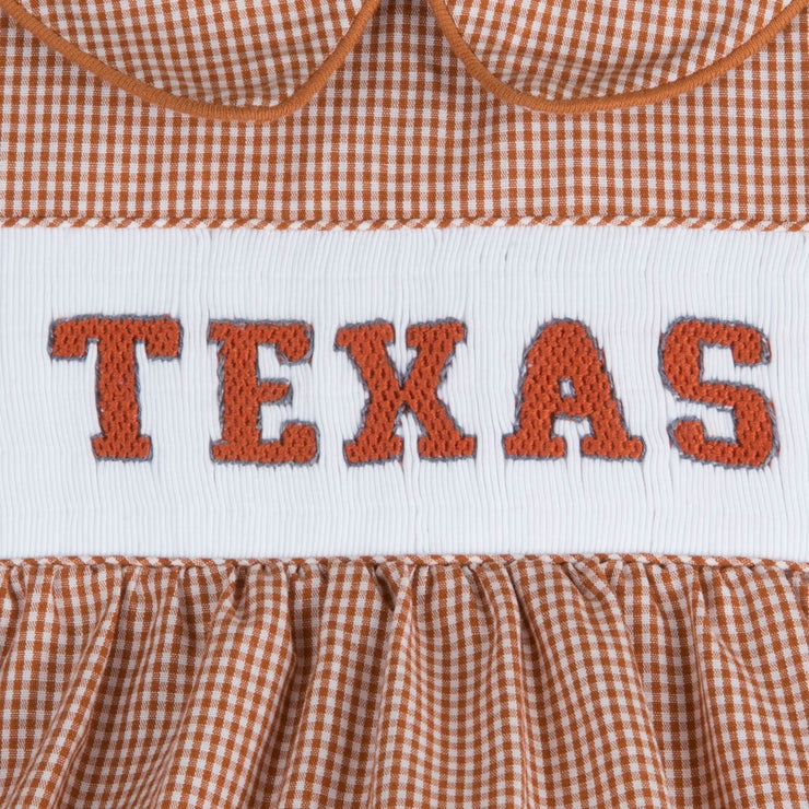 Texas Smocked Boy Bubble Burnt Orange Gingham