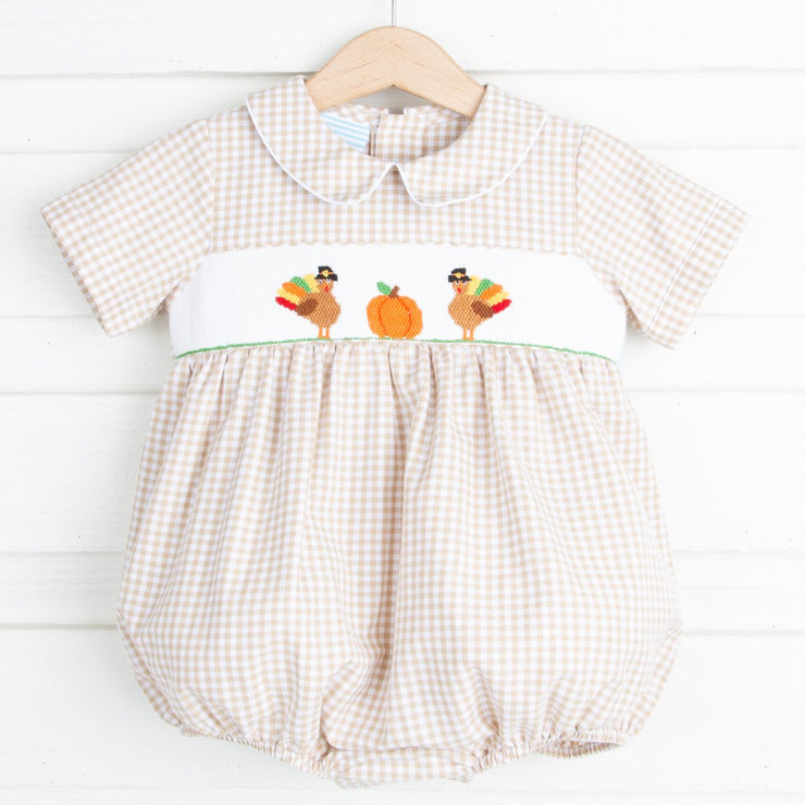 Thanksgiving Smocked Collared Boy Bubble Tan Gingham