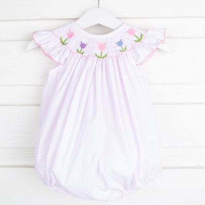 Tulip Smocked Bubble Pink Dot
