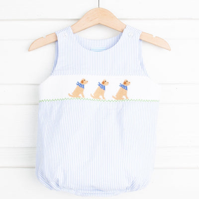 Yellow Lab Smocked Boy Sun Bubble Blue Stripe Seersucker