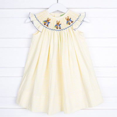 Storybook Rabbit Smocked Dress Yellow Check