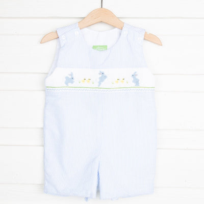 Egg Hunt Smocked Jon Jon Light Blue Seersucker Stripe