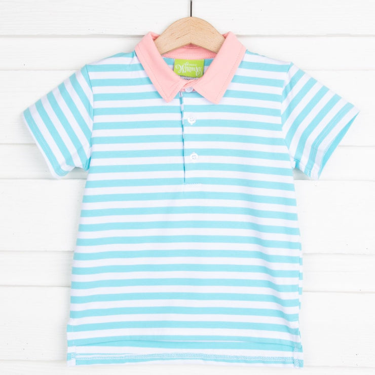 Turquoise Striped Polo Knit