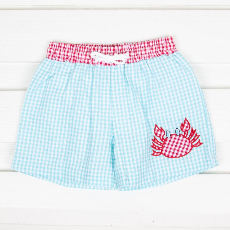 Crab Boy Swim Trunk Turquoise Gingham