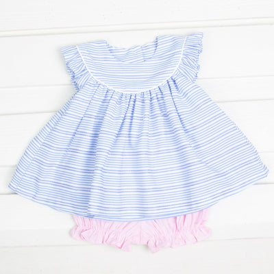 Stripe Lucy Bloomer Set Blue and Pink