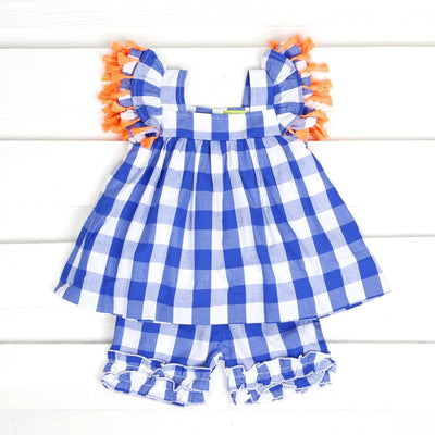 Poppy Short Set Royal Blue Gingham