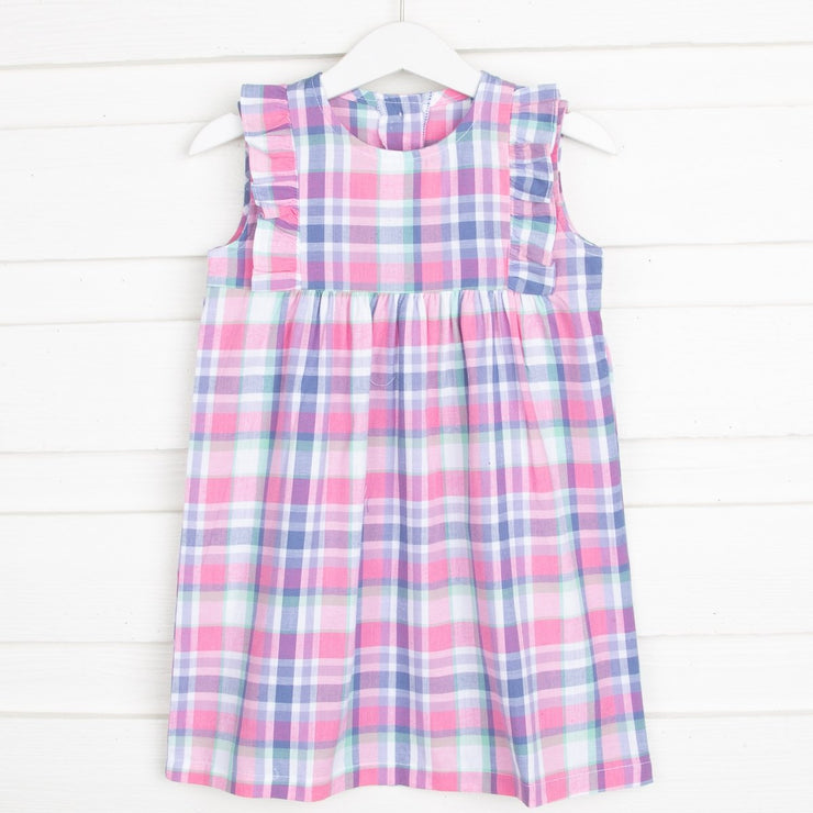 Summer Plaid Kate Dress Pink and Purple
