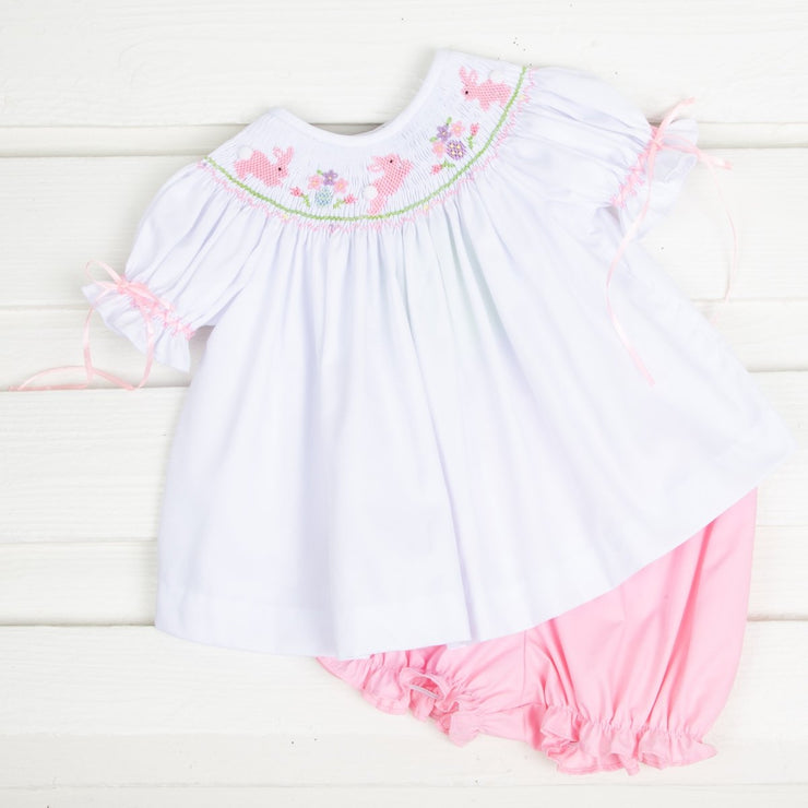 Pink Bunny Smocked Bloomer Set White Pique