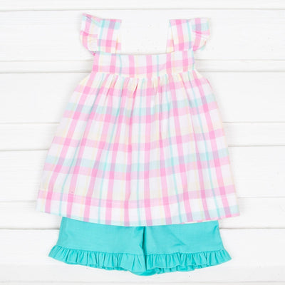 Cotton Candy Amy Short Set Plaid