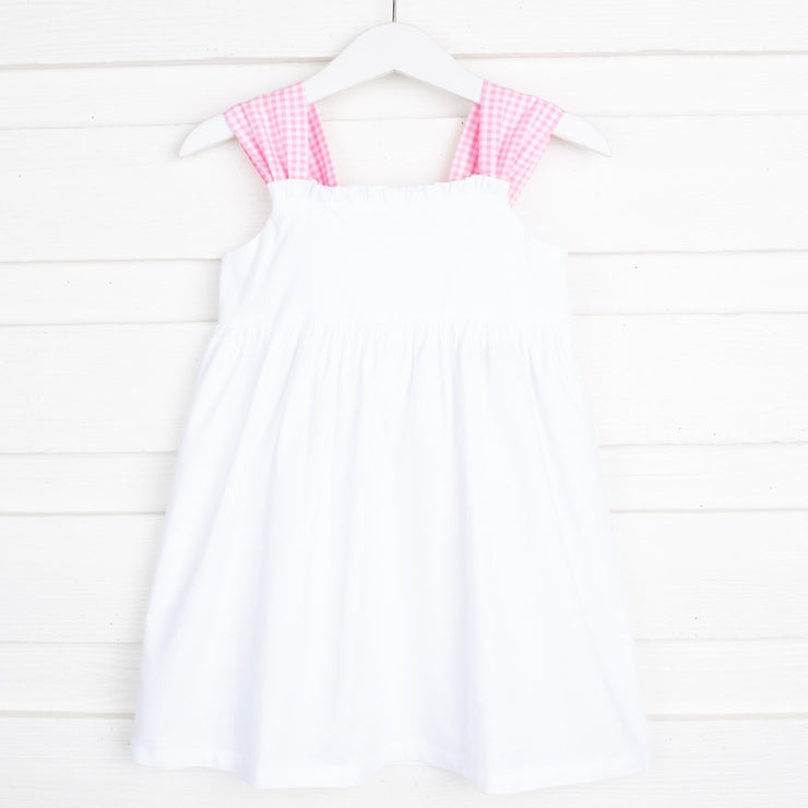 White Stella Dress Pink Gingham