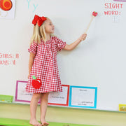 Apple Applique Dress Red Check