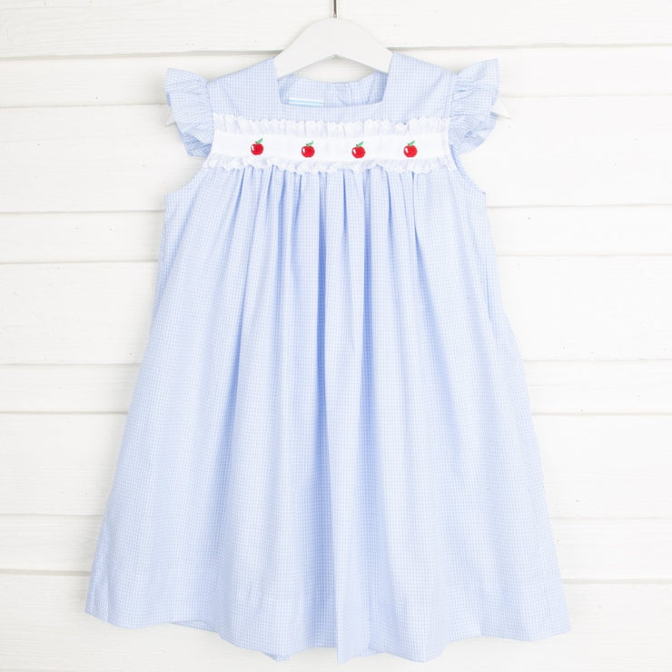 Apple Embroidered Dress Light Blue Gingham