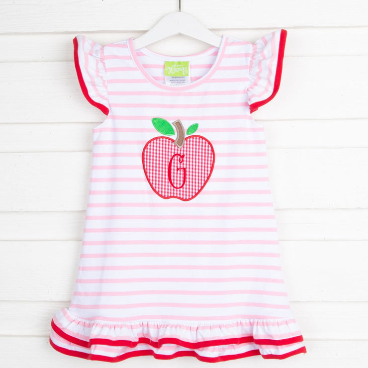 Apple Flutter Sleeve Dress Pink and White Stripe