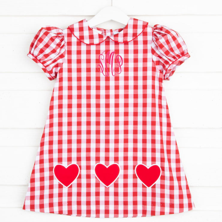 Applique Hearts Sally Dress Red Gingham
