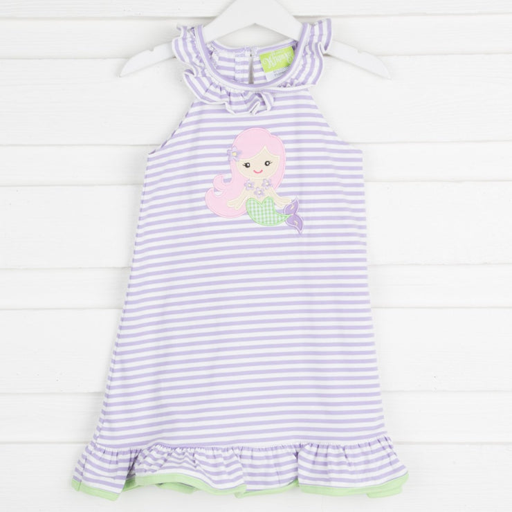 Applique Mermaid Ruffle Collar Dress Lavender Knit Stripe