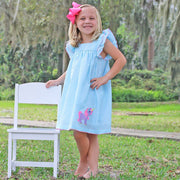 Applique Unicorn Poppy Dress Aqua Check