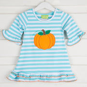 Aqua Knit Pumpkin Dress Stripe