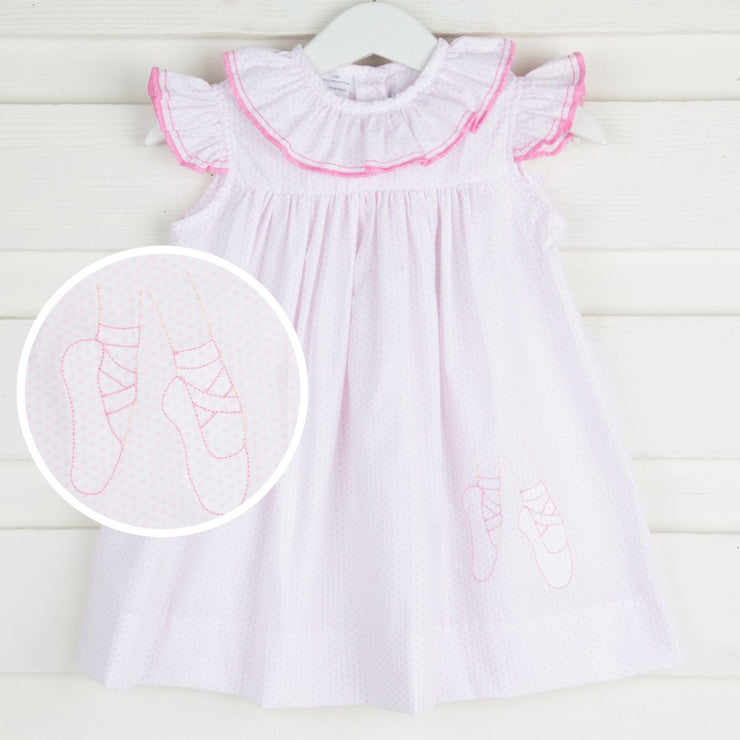 Ballet Embroidered Ruffle Collar Dress White & Pink Dots