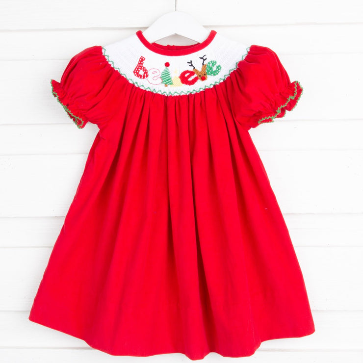 Believe Smocked Bishop Red Corduroy