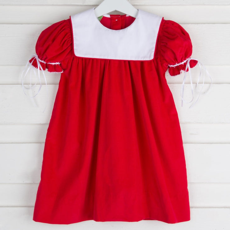 Bib Collared Dress Red Corduroy