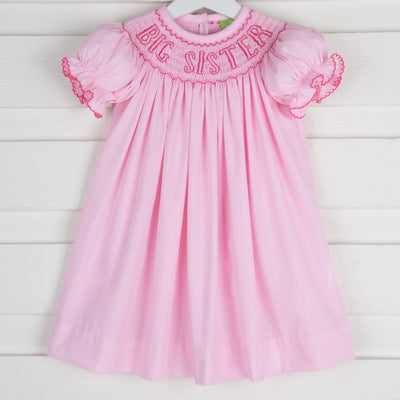 Big Sister Smocked Bishop Light Pink Micro Gingham