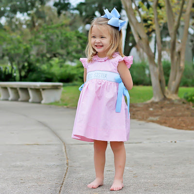 Big Sister Smocked Blue Ribbon Dress Light Pink Gingham