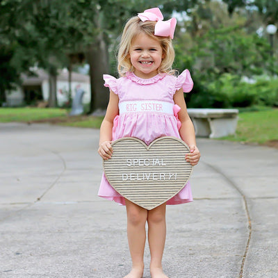 Big Sister Smocked Ribbon Dress Light Pink Gingham