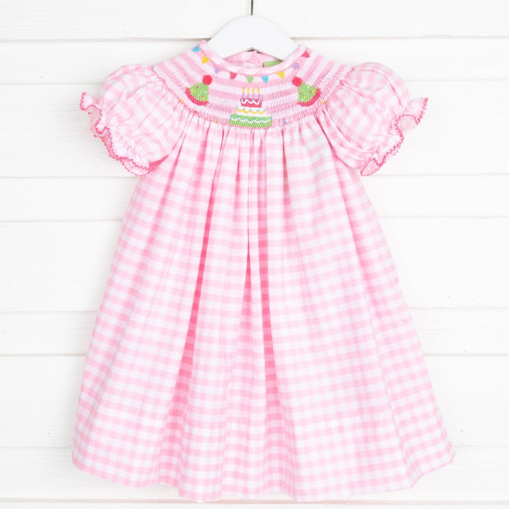 Birthday Party Smocked Dress Pink Check