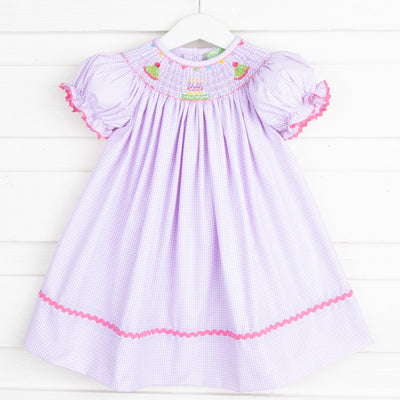 Birthday Smocked Bishop Lavender Gingham